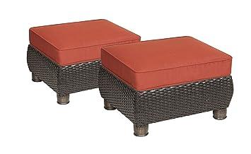 La Z Boy Outdoor Breckenridge Resin Wicker Patio Furniture Ottomans (2  Piece Set