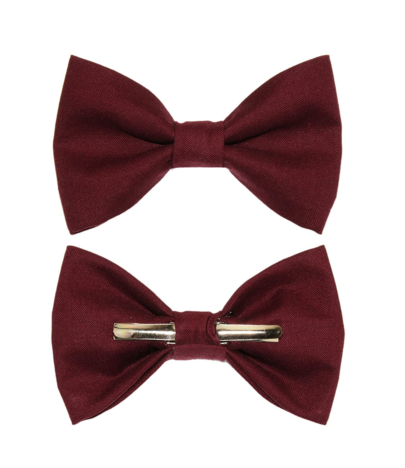 Boys Burgundy Red Clip On Cotton Bow Tie Bowtie amy2004marie 113271
