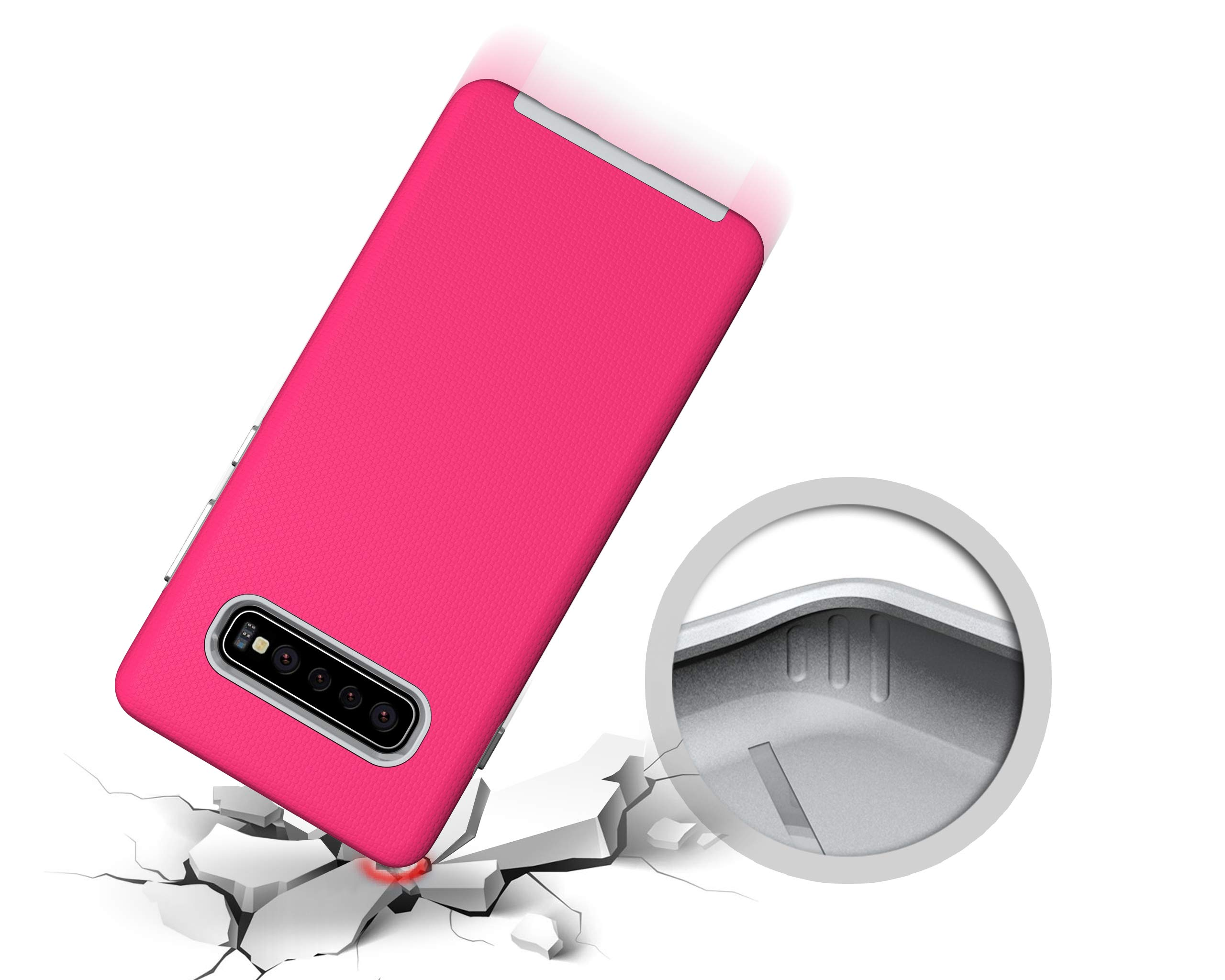 NOMO Galaxy S10 Case,Samsung S10 Hybrid Defender Armor Case,Dual Layer Protective Phone Case,Full Body Rugged Case,Non-Slip Drop Protection Shock Proof Case for Samsung Galaxy S10 Hot Pink by NOMO (Image #2)