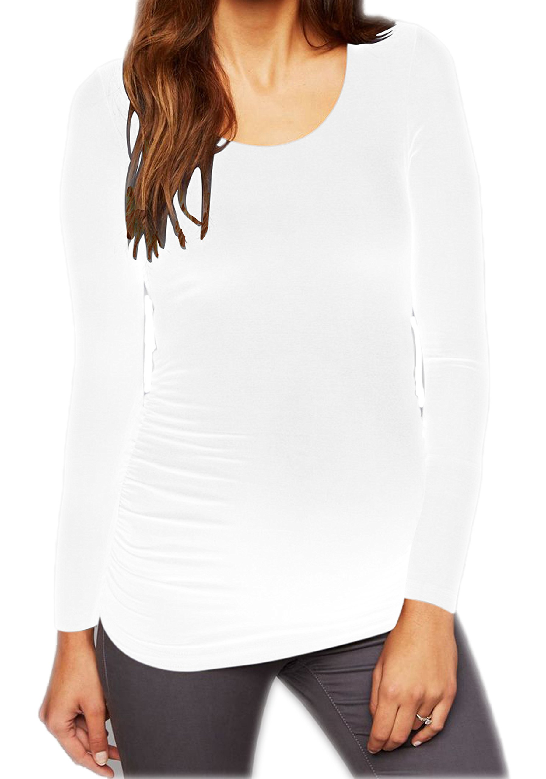 Long Sleeve Maternity Shirt Tunic Top Motherhood Flattering Scoop Round Neck Pregnancy/Nursing - Stretch Technology (Maternity (One Size Fits All), White)
