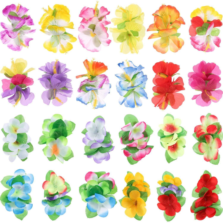 Lvcky 24 Clips de Pelo de Flores Hibiscus de Colores para Disfraz ...