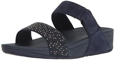 4eda8abdd FitFlop Women s Lulu Popstud Slide Sandal Flip Flop Midnight Navy 6 ...