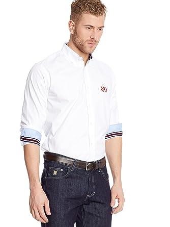 POLO CLUB Camisa Hombre Fitted Logo Blanco S: Amazon.es: Ropa y ...