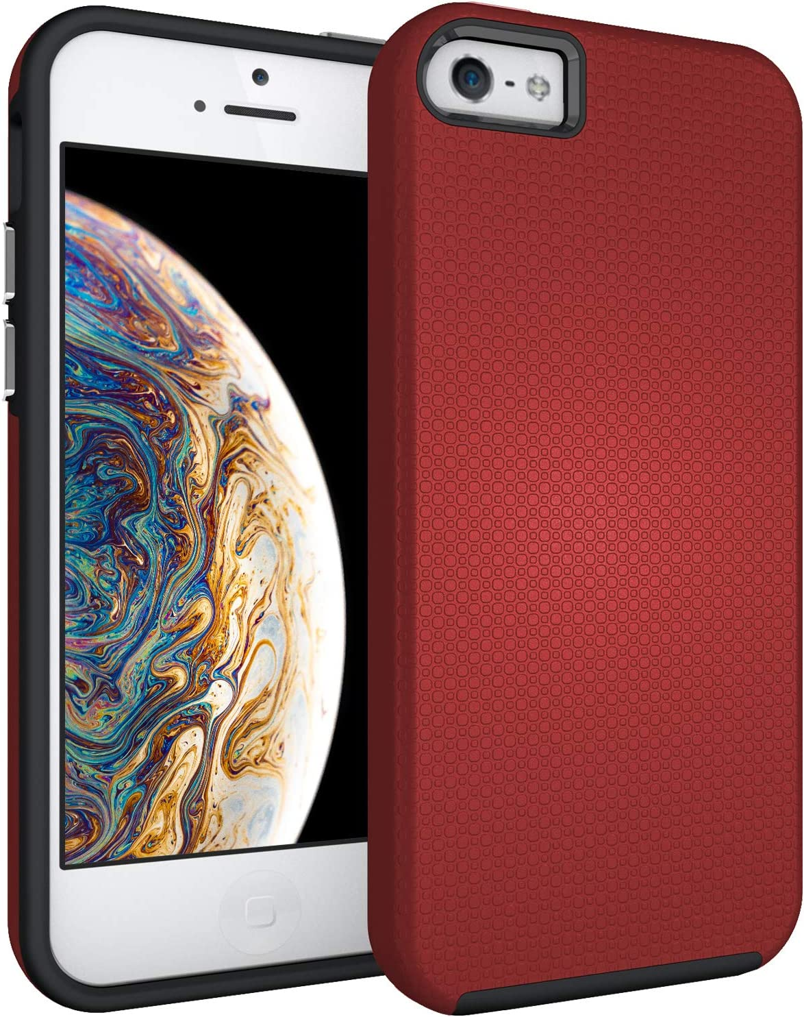 IPASON iPhone 5S Case,iPhone SE Case(2016),iPhone 5 Case,Dual Layer Light Durable Scratch Anti Shockproof Protective Cover for Apple iPhone 5/5S/SE(2016) - Red