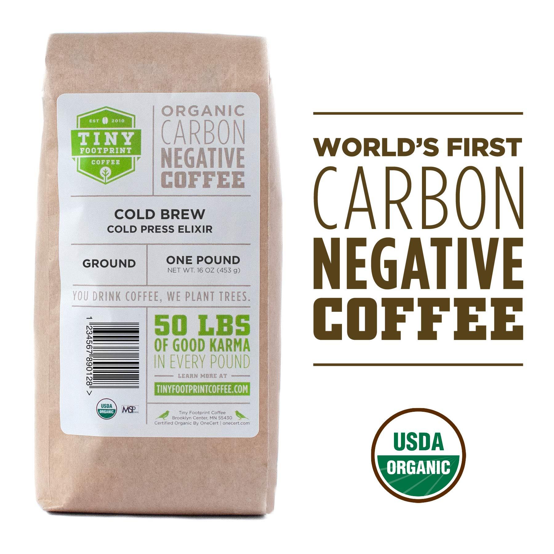 Tiny Footprint Coffee -  Organic Cold Brew Cold Press Elixir | Ground Coffee | USDA Organic | Carbon Negative | 16 Ounce by Tiny Footprint Coffee