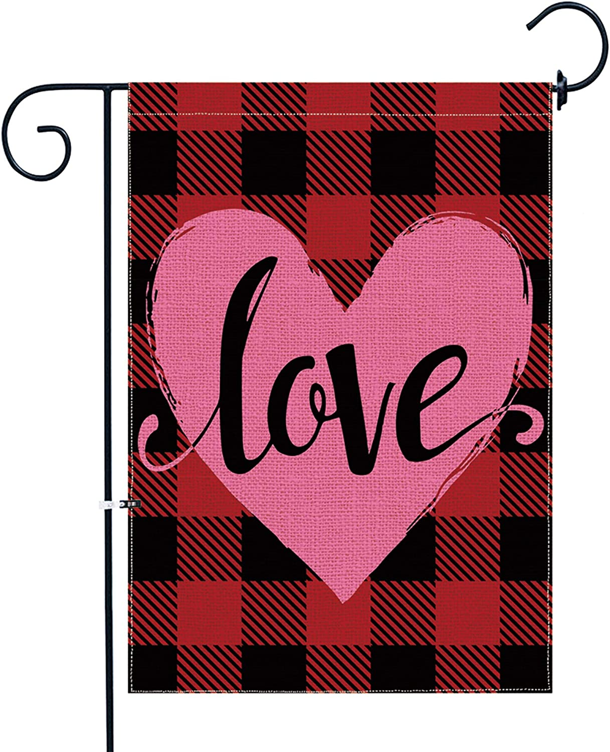 pinata Valentine Garden Flag 12 x 18 Double Sided, Buffalo Plaid Red Heart Love Valentines Day Flags Yard Outdoor Decorations, Holiday Spring Seasonal Small Burlap Vertical Banner Decorative Sign
