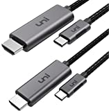 USB C to HDMI Cable 6ft-2 Pack 4K@60Hz, uni USB Type C to HDMI Cable [Thunderbolt 3 Compatible] for MacBook Pro 2020/2019, Ma