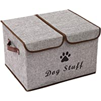 Xbopetda Linen Fabric Foldable Dog Storage Cubes Box with Lid and Handles,Great for Dog Apparel & Accessories, Dog Coats…