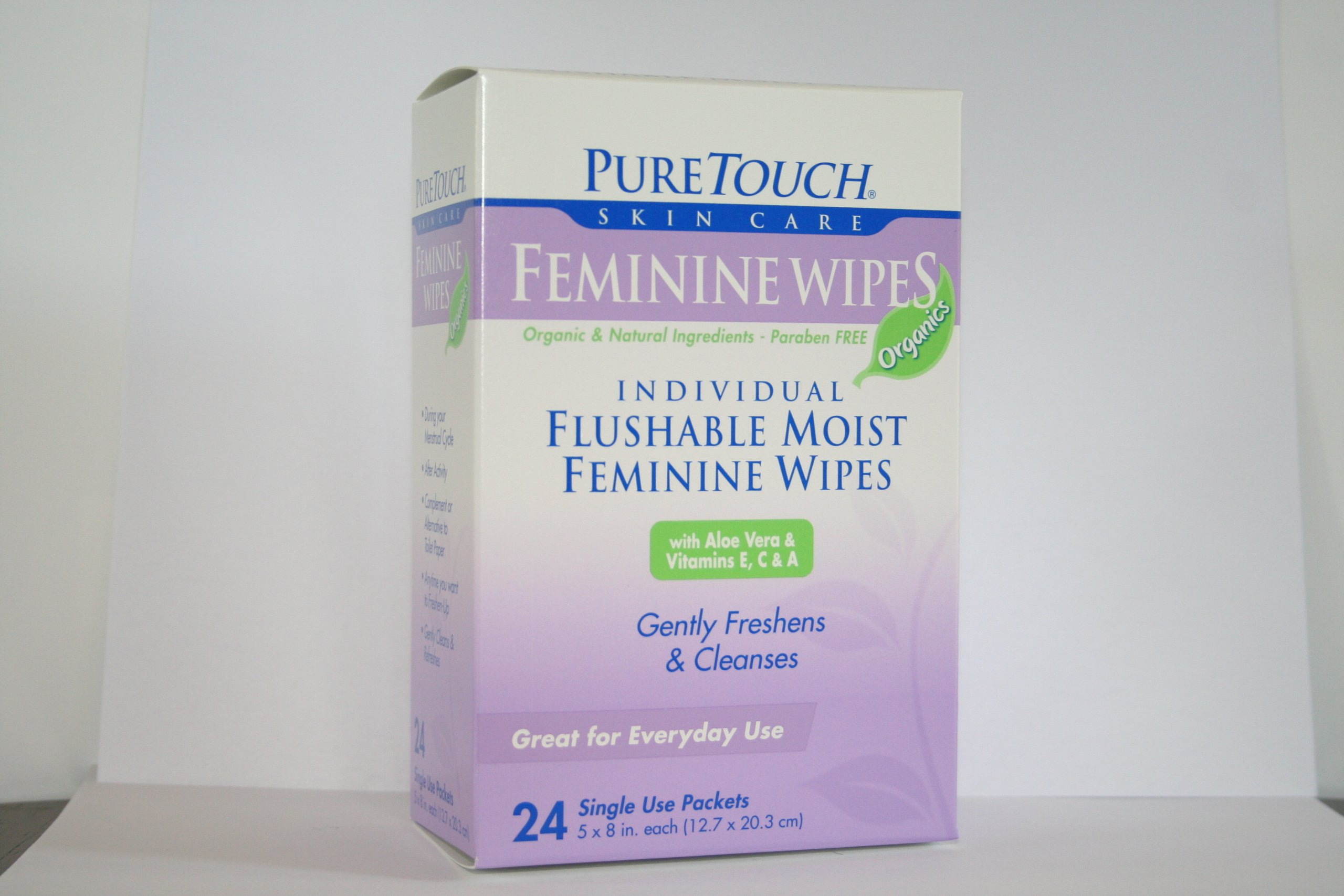 Pure Touch Feminine Wipes ORGANICS 24 Individual Flushable Moist Wipes 6 boxes 144 Single-Use-Packets