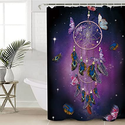 Sleepwish Butterfly Shower Curtains Creative Bath Curtain Dream Catcher Women Waterproof Mold Mildew Resistant Fabric
