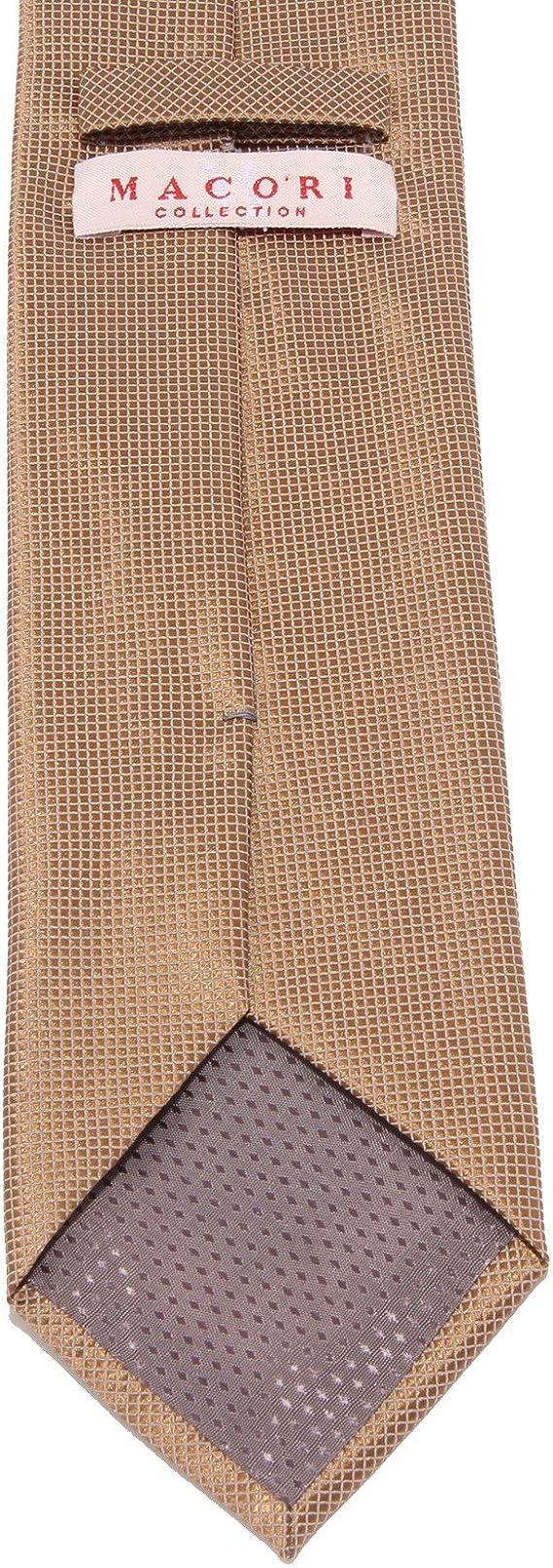 MACORI 8871W cravatta uomo COLLECTION silk brown tie men [ONE SIZE ...