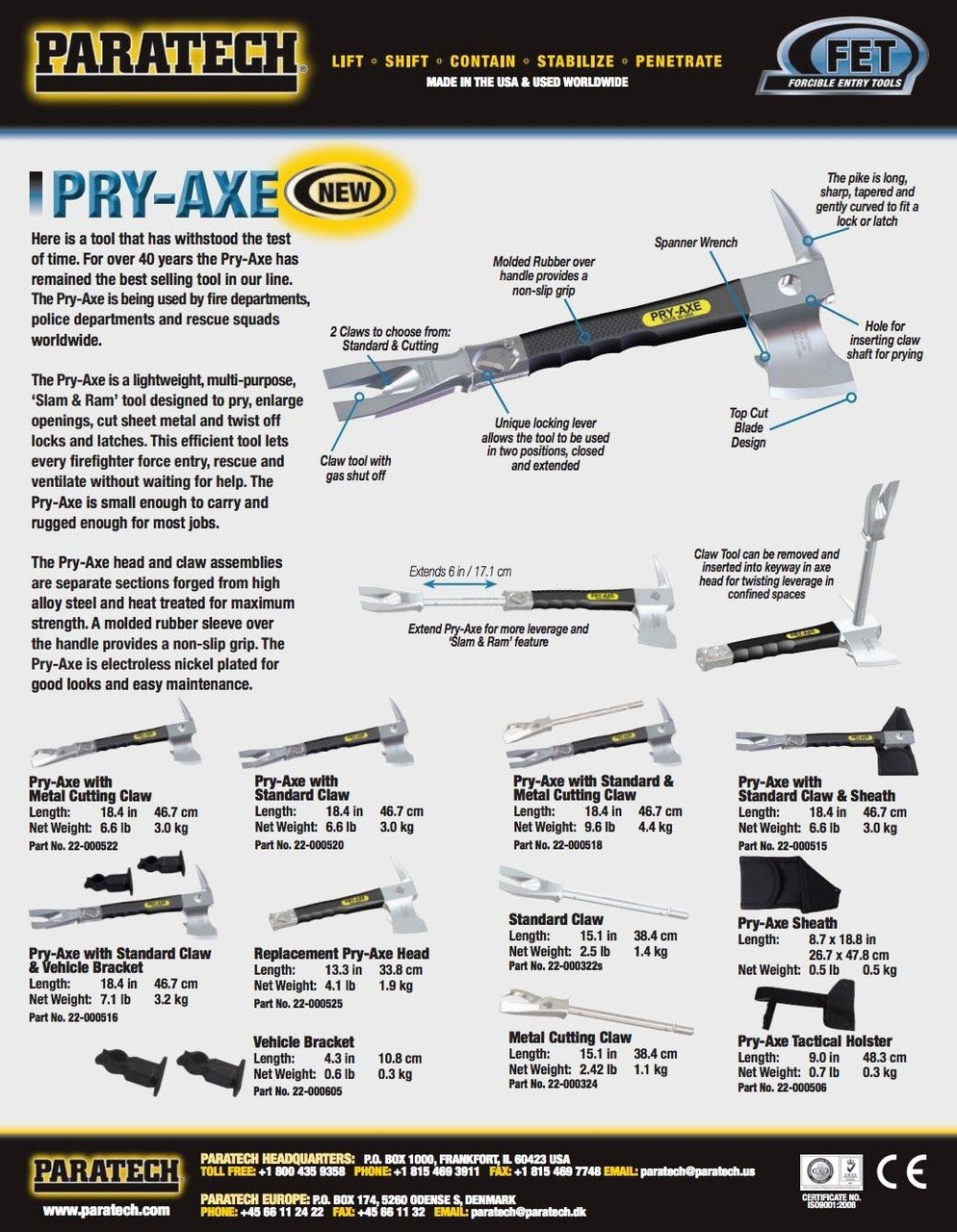 Paratech 22-000522 Pry Axe with Metal Cutting Claw by Paratech
