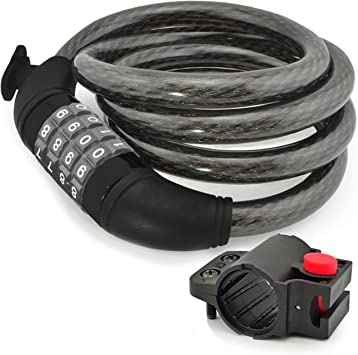 Bike Lock Cable 4 Digit Combination Chain Locks Lightweight Bicycle Safety 6 Ft