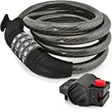 Aduro Sport Bike Lock Cable, Bicycle Master Cable Lock with 4-Digit Combination Lightweight Bike Chain Lock (4 feet/ 6…