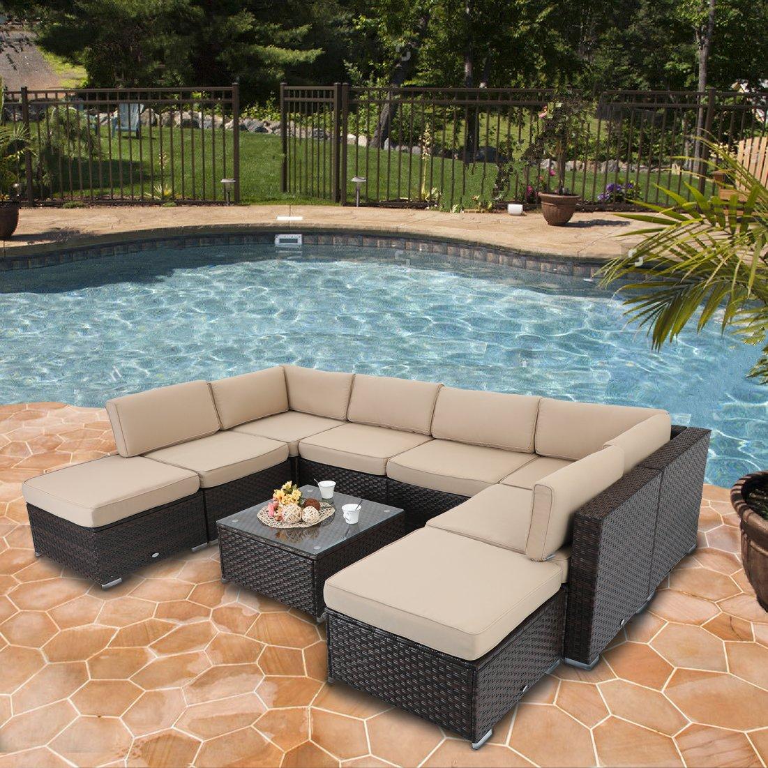 PHI VILLA Outdoor Sofa- Patio Wicker Furniture Set 9-Piece, Beige