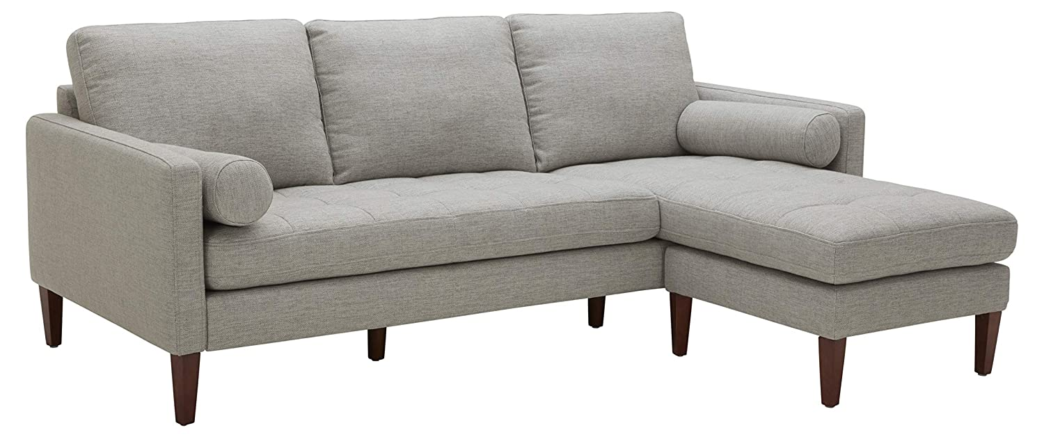 """Rivet Aiden Mid-Century Sectional with Tapered Wood Legs, 86""""W, Light Grey"""