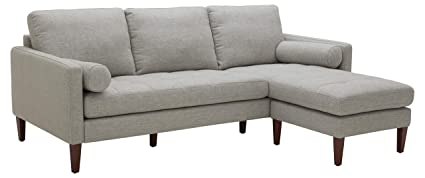Rivet Aiden Mid-Century Sectional with Tapered Wood Legs, 86