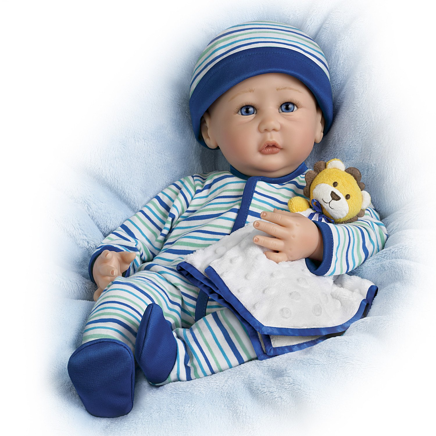 Sherry Miller Weighted Poseable LifelikeベビーBoy Doll and Lion Lovie Blanket by The ashton-drakeギャラリー   B07BC697VX