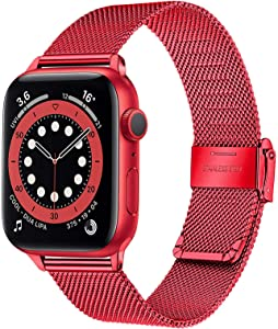 TRUMiRR Red Band for Apple Watch Series 6 38mm 40mm Women Men, Mesh Woven Stainless Steel Watchband Replacement Strap Wristband for iWatch Apple Watch SE Series 6 5 4 3 2 1 38mm 40mm