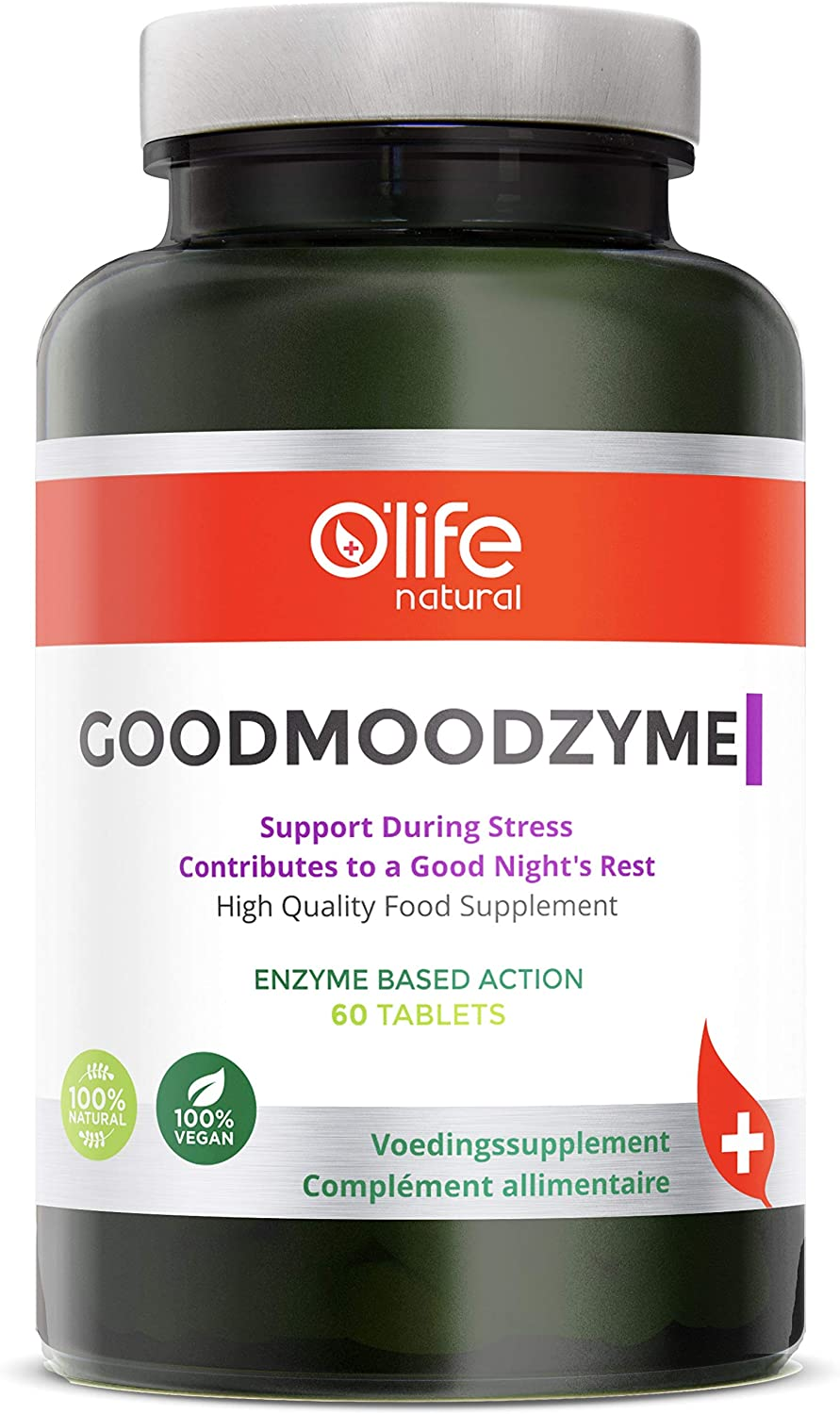 O Life Natural s GOODMOODZYME – Advanced Formula with Ashwagandha, L-Theanine, Ginkgo Biloba Digestive enzymes for Brain Power, Focus, Memory Clarity, Stress Anxiety Insomnia Relief