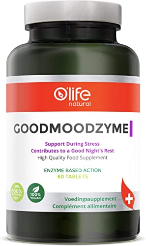 O Life Natural's GOODMOODZYME - Advanced Formula with Ashwagandha, L-Theanine, Ginkgo Biloba Digestive enzymes for Brain Power, Focus, Memory Clarity, Stress Anxiety Insomnia Relief