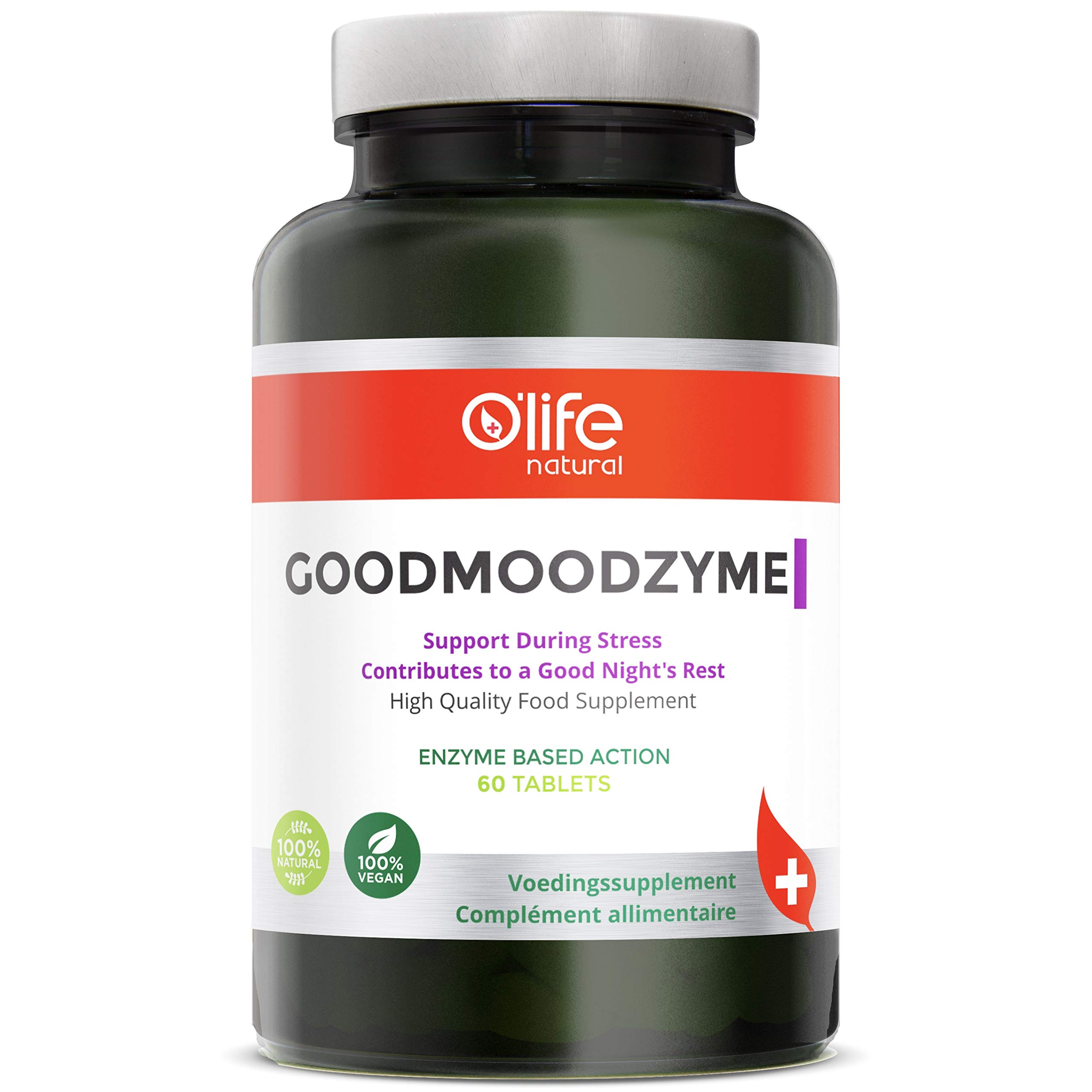 O'Life Natural's GOODMOODZYME - Advanced Formula with Ashwagandha, L-Theanine, Ginkgo Biloba & Digestive enzymes for Brain Power, Focus, Memory Clarity, Stress & Anxiety & Insomnia Relief