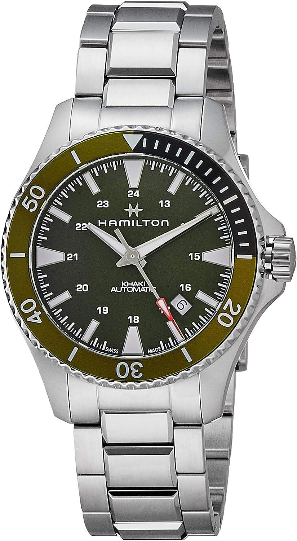 Hamilton H82375161 - Reloj analógico automático para hombre con esfera y bisel verde, correa de acero inoxidable y reserva de carga de 80 horas