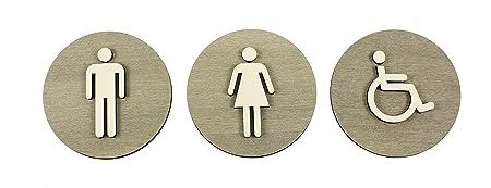 WC – Placa para puerta cartel gris madera de WC Cartel Mujer Hombre discapacitados pictograma, madera, Damen+Herren+Behinderten, Ø 12cm