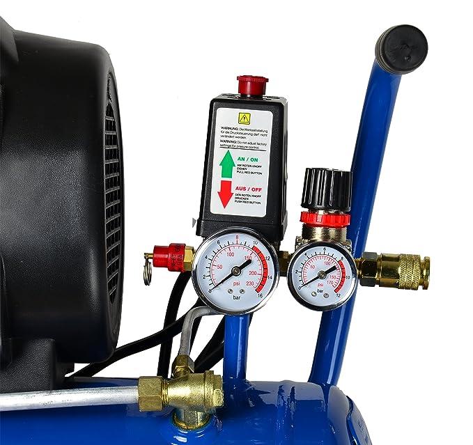 HYUNDAI AC2401E Compresor de aire con depósito de presión de 24 litros, lubricado por aceite, presión de servicio 8 bares, potencia del motor 1,5 kW (2,0 ...