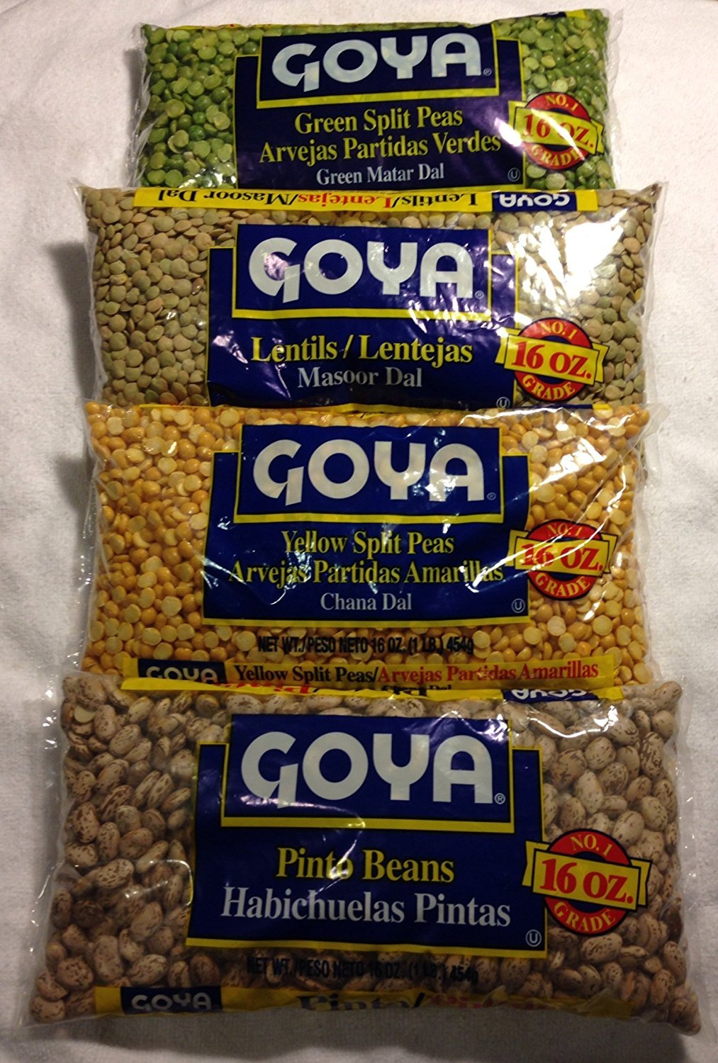 GOYA Dried Lentils, Pinto Beans, Yellow Split Peas & Green Split Peas - Variety Pack - 16oz Each 1 Lb Bag (4 Pack) Split Pea or Lentil Soup - Refried Beans - Recipes on Bag, Dip, Healthy Protein