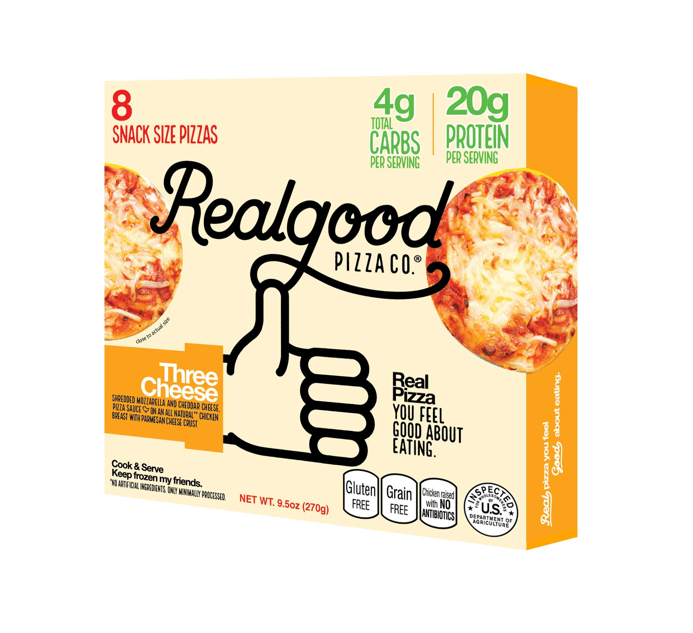 Real Good Foods, Low Carb - High Protein - Gluten Free, Three Cheese Pizza Snack Bites, 9.5 oz. (8 Count)