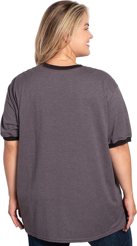 Disney Christmas Plus Size Ringer T-Shirt Mickey Mouse /& Pluto