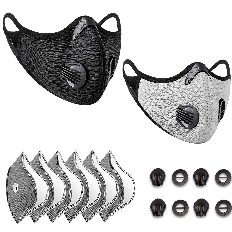 Anticontaminación Máscara Bicicleta, Adecuado para la Prueba de Polvo, Lavable, Deportes, al Aire Libre, con 8 Piezas de Filtro de carbón Activado(negro+gris)