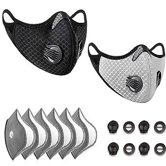 Oferta amazon: Anticontaminación Máscara Bicicleta, Adecuado para la Prueba de Polvo, Lavable, Deportes, al Aire Libre, con 8 Piezas de Filtro de carbón Activado(negro+gris)