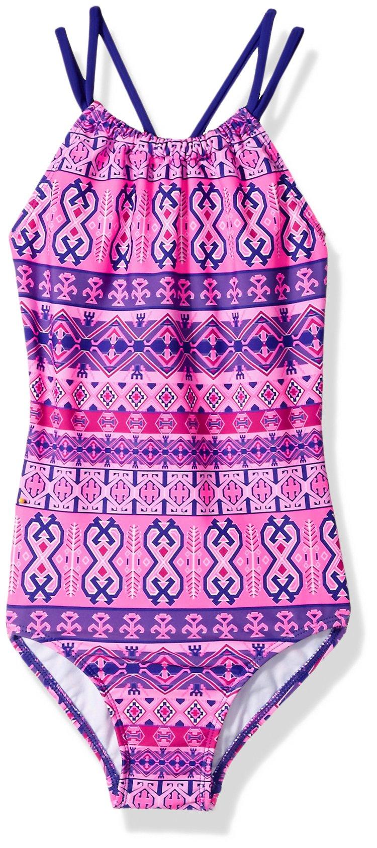 Kanu Surf Big Girls' Mahina Halter Beach Sport 1-Piece Swimsuit, Pink, 7