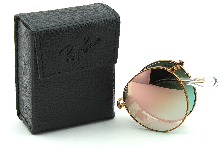 da90de3965 Amazon.com  Ray-Ban RB3532 Round Folding Flash Gradient Unisex Sunglasses  (Shiny Bronze Frame Copper Mirror Gradient Lens 198 7Y