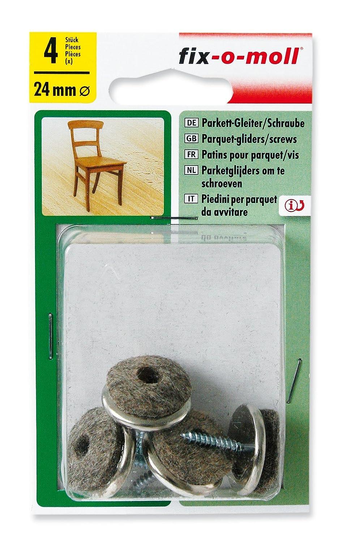 3566238 fix-o-moll Parkettgleiter mit Schraube 28 mm 24 St/ück
