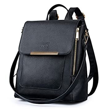 f8575f83a9 COOFIT Damen Rucksack Lederrucksack Kleiner Rucksack Elegant Damen  Handtasche Schwarz Schulrucksack Rucksack Handtasche Daypack Schulranzen (