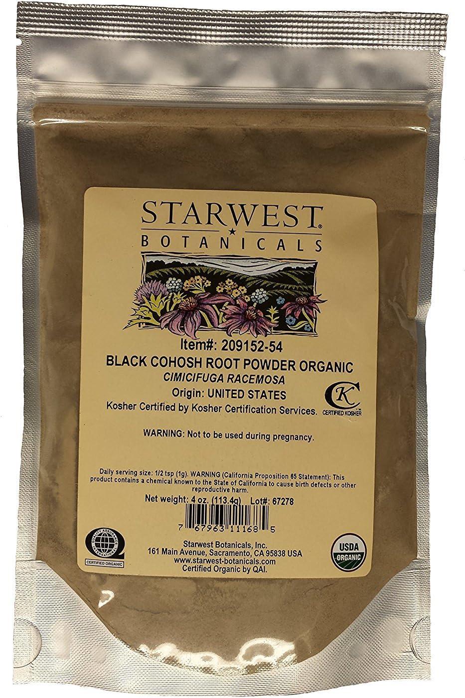 Black Cohosh Root Pwd Organic - 4 Oz,(Starwest Botanicals)