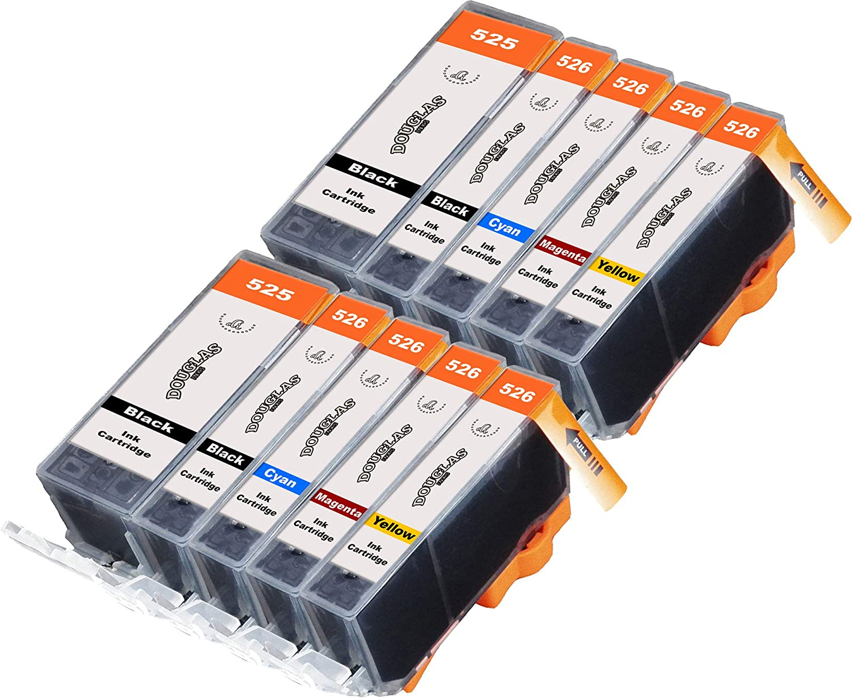 Douglas Inks – Cartucho de tinta refabricado para usar en lugar de Canon PGI-525, CLI-526 (Pigmento negro/ Negro/ Cian/ Magenta/ Amarillo pack de 10)