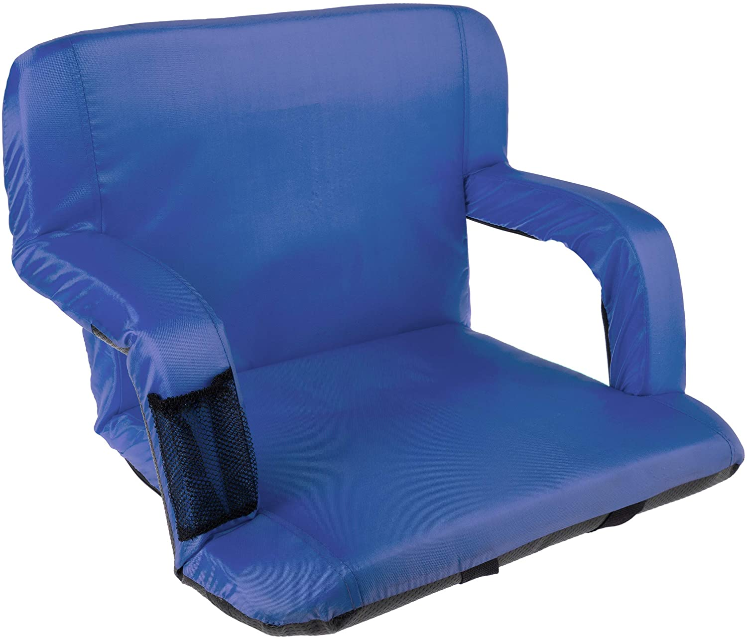 Home-Complete Wide Stadium Seat Chair Bleacher Cushion with Padded Back Support, Armrests, 6 Reclining Positions and Portable Carry Straps, Blue