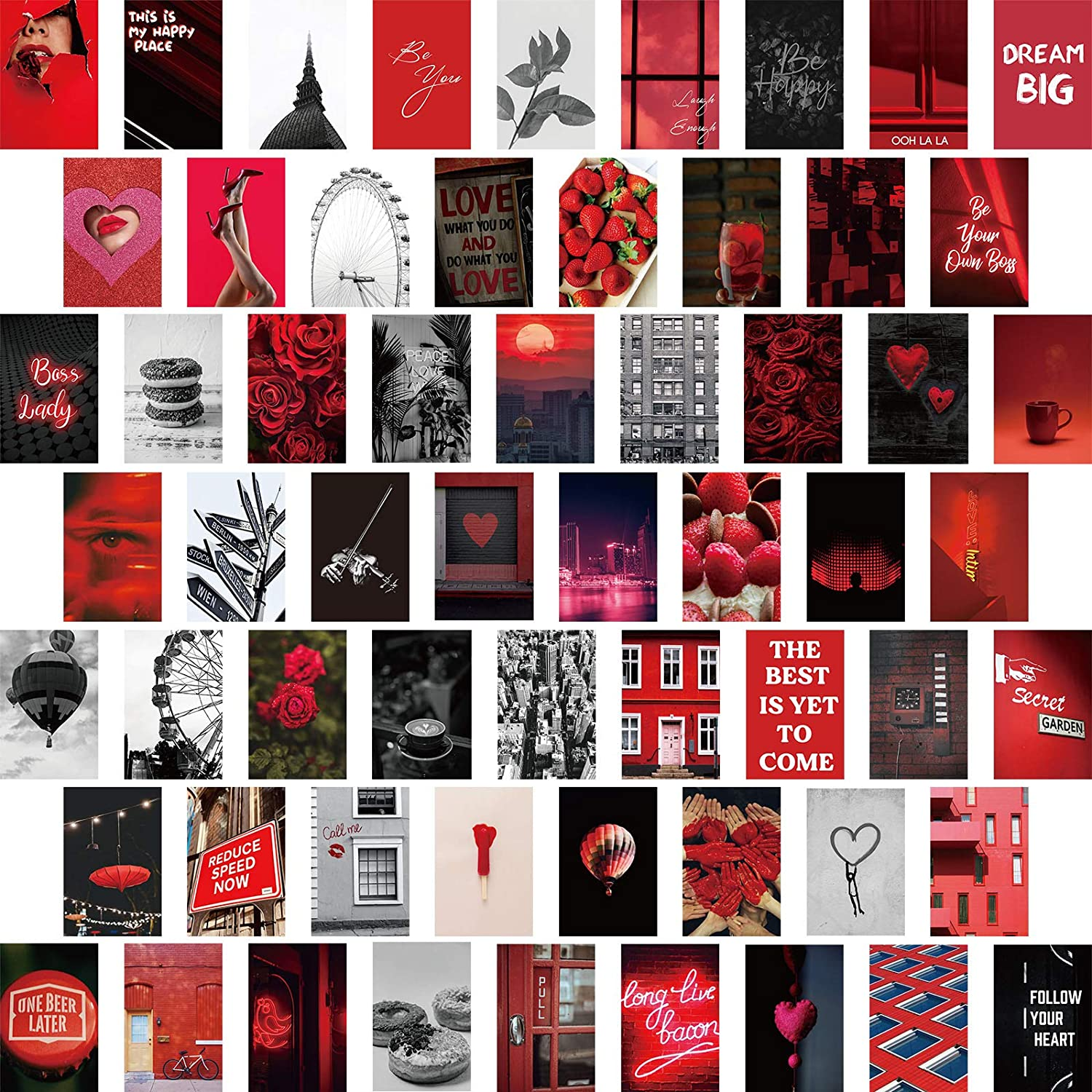 Zonon 60 Pieces Red Aesthetic Posters for Wall Collage Kit Prints Red Aesthetic Pictures for Dorm Photo Display Girls Teens Adults Aesthetic Decor