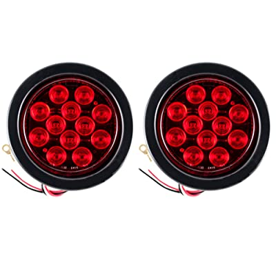 """Qty 2-4"""" Inch 12 LED Round Stop/Turn/Tail Light Kit Red LED with Grommet and Pigtail Plug Trailer Truck Tow Truck: Automotive"""