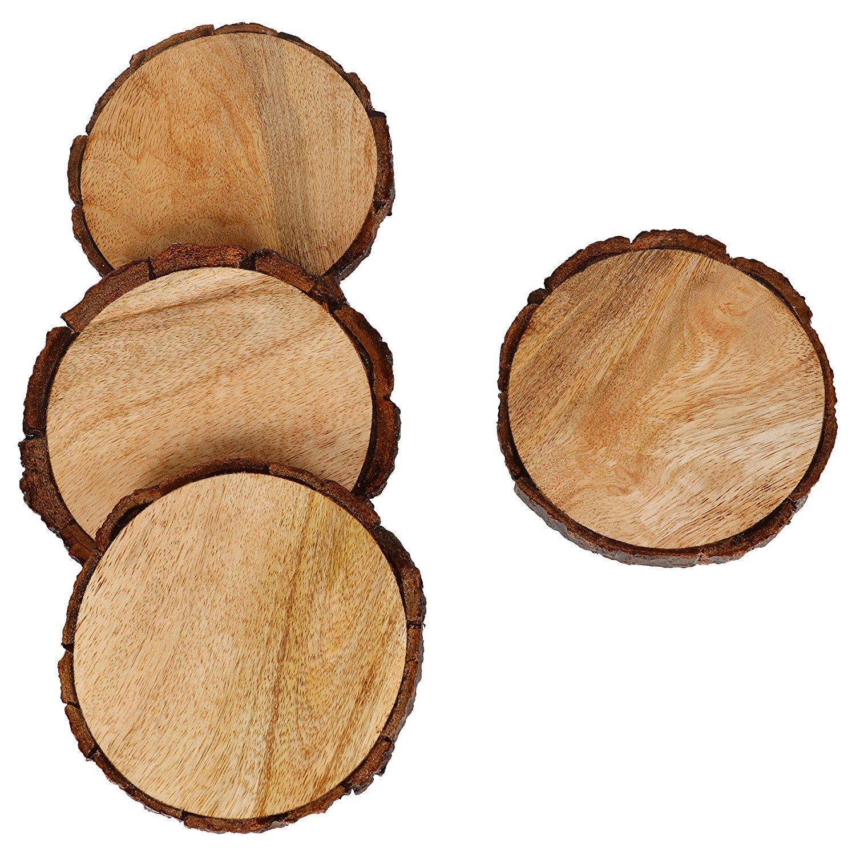 クリスマスHoliday Gifts – gocraft天然木製コースターwith Tree Bark、マンゴー木製コースターfor your Drinks、飲み物&ワイン/バーグラスコースターのセット4 )   B071PBRQ1K