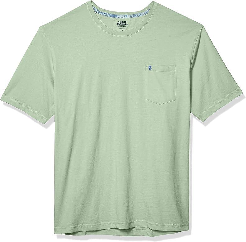 IZOD Mens Saltwater Short Sleeve Solid T-Shirt with Pocket