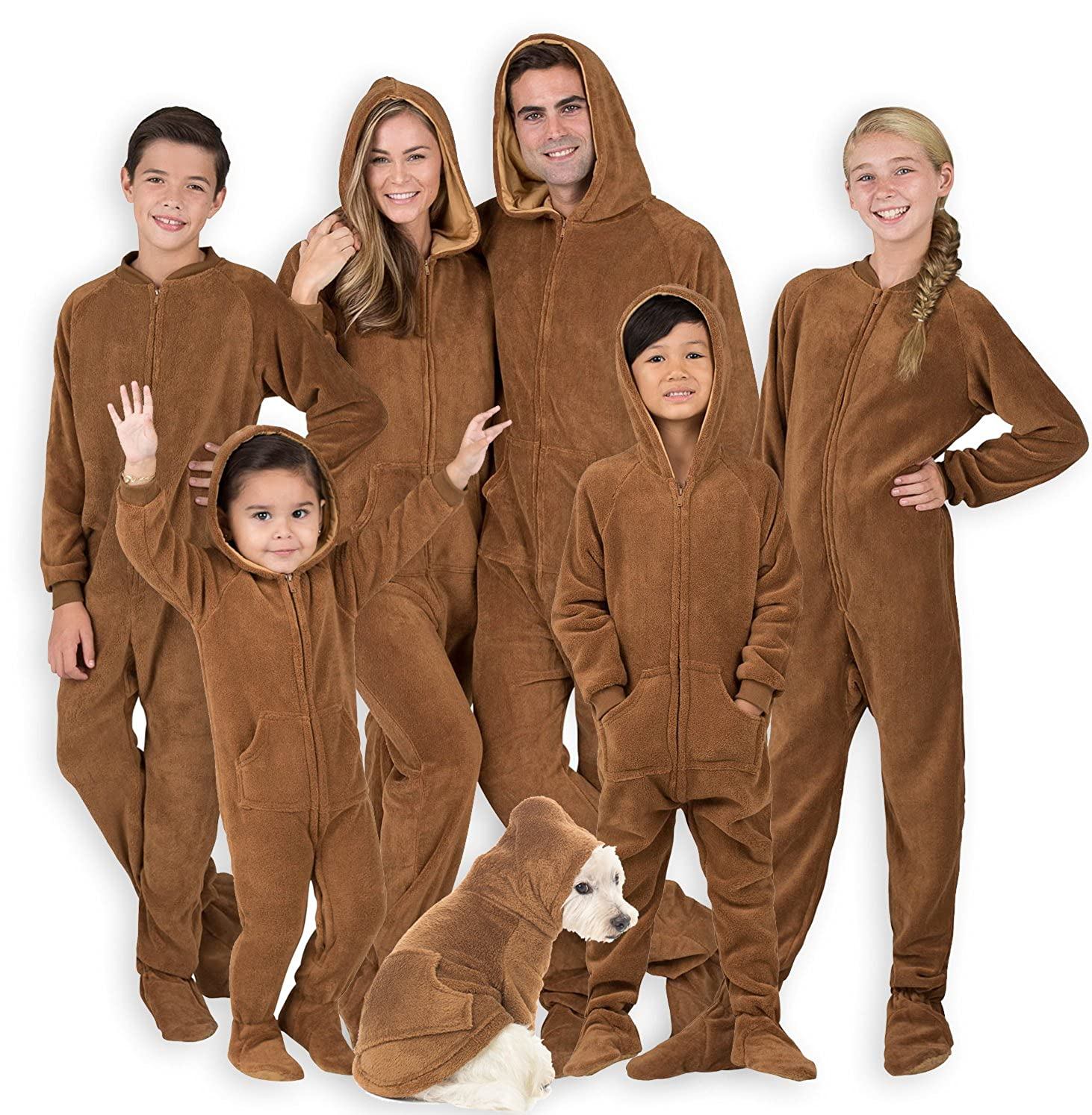 Footed Pajamas Family Matching Teddy Bear Hoodie Chenille