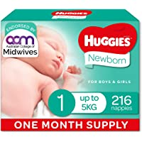 Newborn Nappies Size 1 (up to 5kg) 1 Month Supply 216 Count