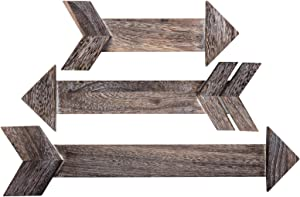 OUTSHINE Rustic Dark Brown Wooden Arrows for Farmhouse Home Wall Decor (Set of 3)   Real Wood Decorative Arrow Signs   Cute Decorations for Living Room, Bedroom, Kitchen, Nursery, Office, Wedding