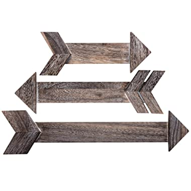 OUTSHINE Dark Brown Wooden Arrows for Rustic Farmhouse Home Wall Decor (Set of 3) | Real Wood Decorative Arrow Signs | Cute Decorations for Living Room, Bedroom, Kitchen, Nursery, Office, Wedding