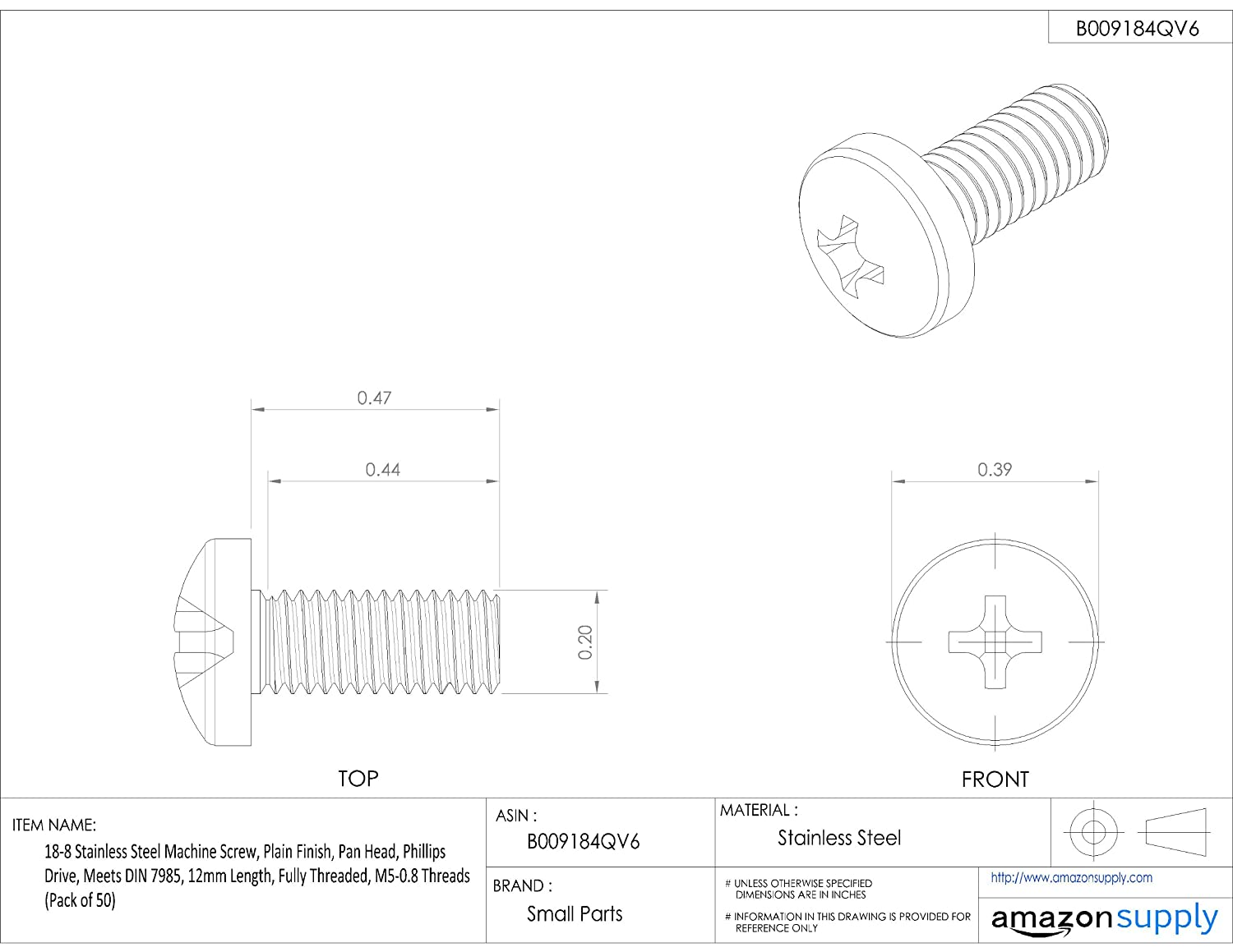 Fully Threaded Plain Finish 12mm Length 18-8 Stainless Steel Machine Screw Small Parts B-7985A2PH5X12-B50 Pack of 50 M5-0.8 Metric Coarse Threads Phillips Drive Meets DIN 7985 Pan Head